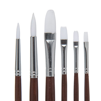 White Nylon All Purpose Paint Brushes - 6 Piece Set