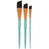 Angular Black Taklon Paint Brushes - 3 Piece Set
