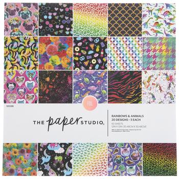 "Rainbows & Animals Paper Pack - 12"" x 12"""