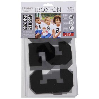 "Black Vinyl Number Iron-On Appliques - 5"""