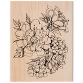 Sketchy Blossoms Rubber Stamp