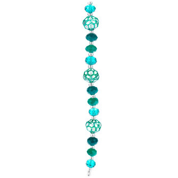 Teal Faceted Glass Bead Strand