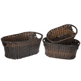 Brown Oval Basket Set
