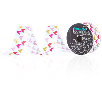 """Valentine Hearts Single-Face Satin Ribbon - 1 1/2"""""""