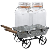 Wheelbarrow Double Beverage Dispenser