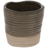 Two-Tone Round Ridged Mini Vase