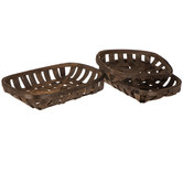 Dark Brown Tobacco Basket Tray Set