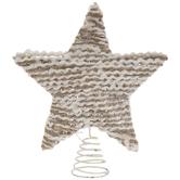 White & Jute Striped Glitter Tree Topper