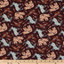 Brown Animals & Feathers Cotton Calico Fabric