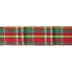 Gold, Red & Green Plaid Wired Edge Ribbon - 1 1/2