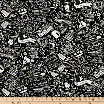 Black Cooking Friendship Cotton Calico Fabric