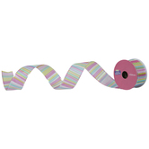 """Pastel Striped Wired Edge Ribbon - 1 1/2"""""""