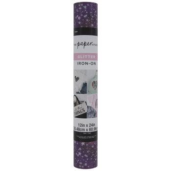 Purple & White Stars Glitter Iron-On Vinyl