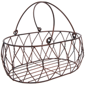 Rust Oval Metal Basket
