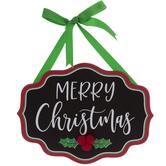 Merry Christmas Ornate Chalkboard Wood Wall Decor