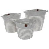Gray & White Striped Round Basket Set