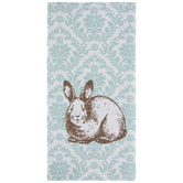 Turquoise Damask Kitchen Towel With Bunny