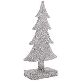 Silver Glitter Silhouette Wood Tree