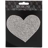 Rhinestone Heart Iron-On Applique