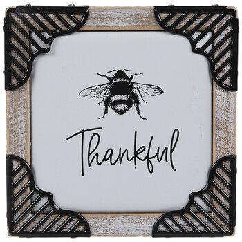 Thankful Bee Wood Wall Decor