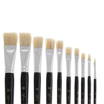 Flat Paint Brushes - 10 Piece Set