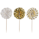 Gold Foil Fan Cupcake Toppers