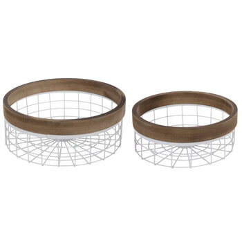 Natural & White Round Metal Wire Basket Set