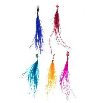 Primary Feather Tassels With Stones