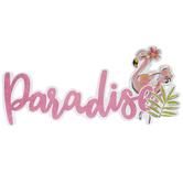 Paradise Flamingo Glitter Wood Wall Decor
