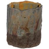 Brown Iridescent Glass Vase