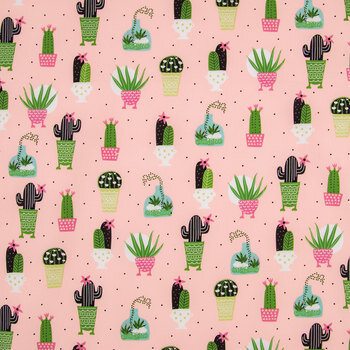 Potted Succulents Apparel Fabric