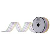 "Pastel Rainbow Striped Sheer Ribbon - 1 1/2"""