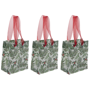 Leaves & Holly Berry Gift Bags - Mini