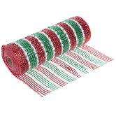 "Red, Green & White Pom Pom Deco Mesh Ribbon - 10"""