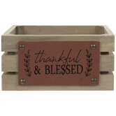 Thankful & Blessed Wood Crate