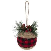 Jute & Buffalo Check Ball Ornaments