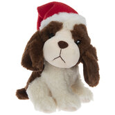 Brown & Cream Plush Dog With Santa Hat