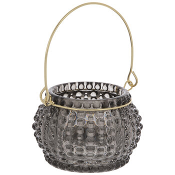 Gray Roly Poly Glass Lantern Candle Holder