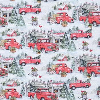 Snowy Red Trucks Cotton Apparel Fabric