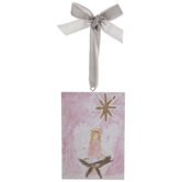 Pink Angel Over Baby Jesus Ornament