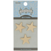 Gold Striped Star Shank Buttons - 21mm