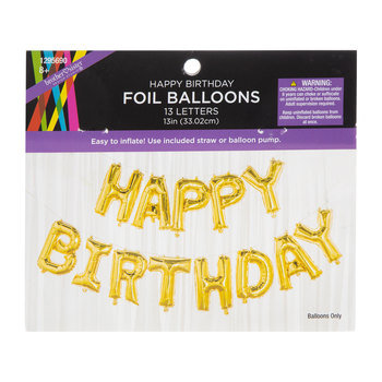 Gold Foil Happy Birthday Balloon Banner