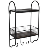 Grid Metal Wall Shelf With Hooks