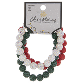 White, Green & Red Rhinestone Beaded Bracelets