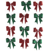 Red & Green Glitter Bow Embellishments