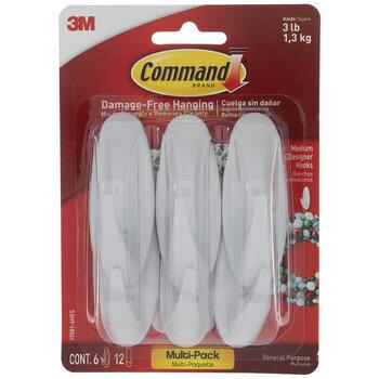 White Medium Designer Command Hooks