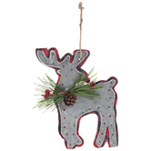 Buffalo Check & Galvanized Reindeer Ornament
