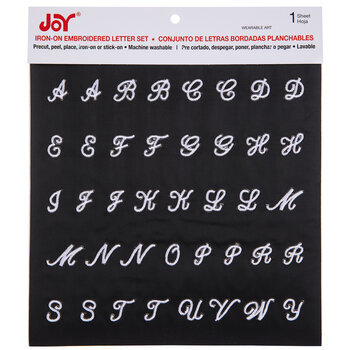 White Embroidered Letter Iron-On Applique Alphabet - Small
