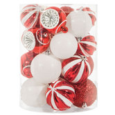 Red & White Ball Ornaments