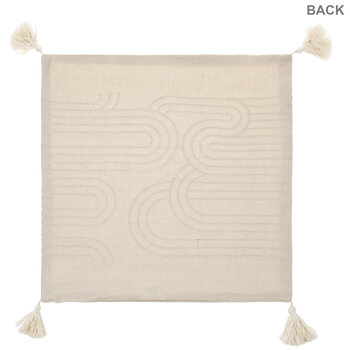 Beige & White Curved Lines Pillow Cover